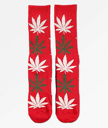 HUF Plantlife Glowflake Red Crew Socks
