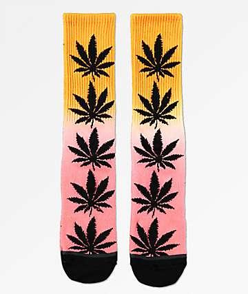 HUF Plantlife Gradient Dye Pink & Black Crew Socks