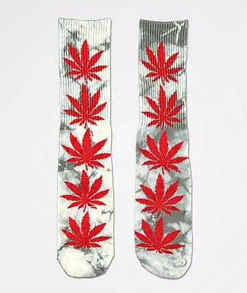 HUF Plantlife Grey & Red Tie Dye Crew Socks