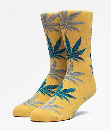 HUF Plantlife Kush Melange Honey Mustard Crew Socks