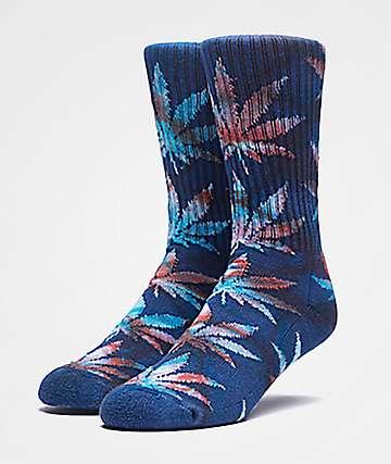 HUF Plantlife Leaves Navy Tie Dye Crew Socks