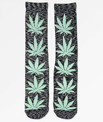 HUF Plantlife Melange Black & Teal Crew Socks