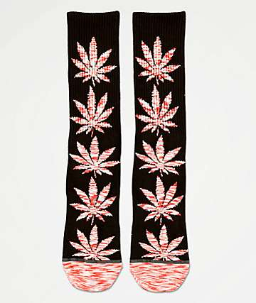 HUF Plantlife Melange Leaves Black & Red Crew Socks
