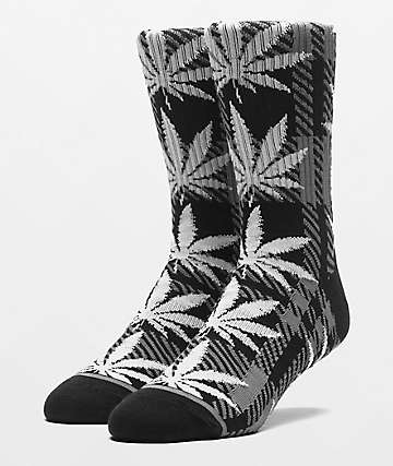 HUF Plantlife Plaid Black Crew Socks