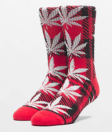 HUF Plantlife Plaid Poppy Crew Socks