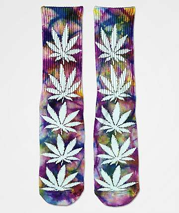 HUF Plantlife Purple, Gold & Blue Tie Dye Crew Socks