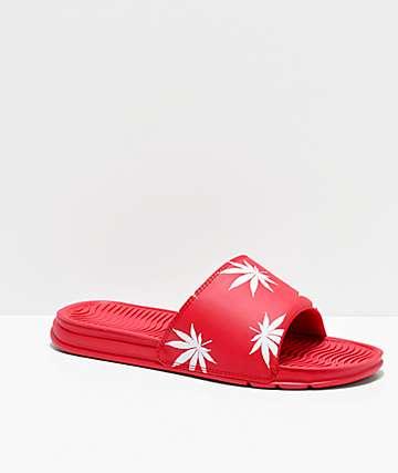 HUF Plantlife Red Slide Sandals