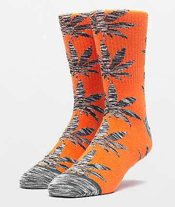 HUF Plantlife Space Dye Leaves Russet Orange Crew Socks
