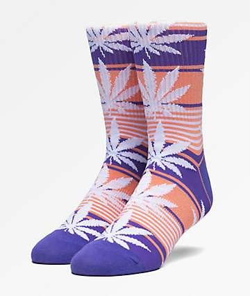 HUF Plantlife Stripe Blue Crew Socks