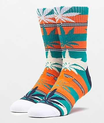 HUF Plantlife Stripe Russet Orange Crew Socks