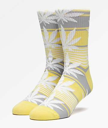 HUF Plantlife Stripe Yellow Crew Socks