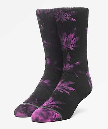 HUF Plantlife Tie-Dye Leaves Black Crew Socks