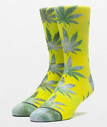 HUF Plantlife Tie Dye Leaves Blazing Yellow Crew Socks