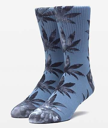 HUF Plantlife Tie Dye Leaves Blue Mirage Crew Socks