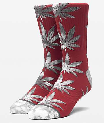 HUF Plantlife Tie Dye Leaves Rosewood Red Crew Socks