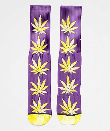 HUF Plantlife Tie Dye Leaves Ultra Violet Crew Socks