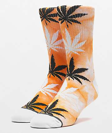 HUF Plantlife Tie Dye Russet Orange Crew Socks