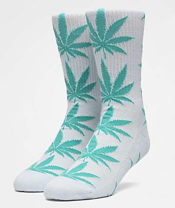 HUF Plantlife White & Ballad Blue Crew Socks