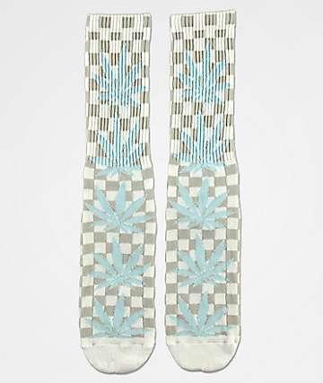 HUF Plantlife White Checkered Crew Socks