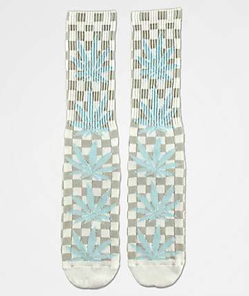 HUF Plantlife White Checkered Crew Socks