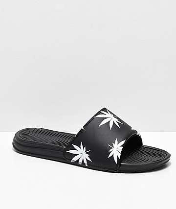 HUF Plantlife sandalias en negro y blanco