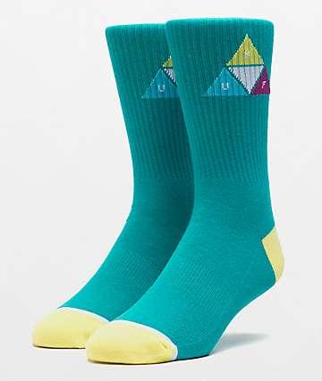 HUF Prism Triangle Quetzal Green Crew Socks