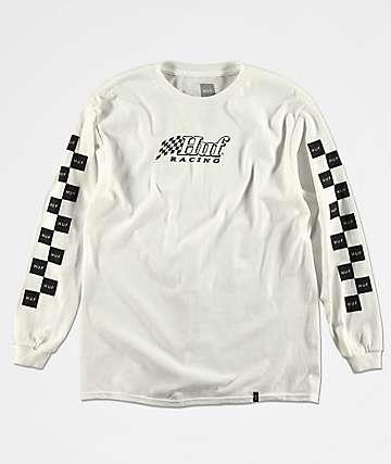 HUF Racing camiseta de manga larga blanca para niños