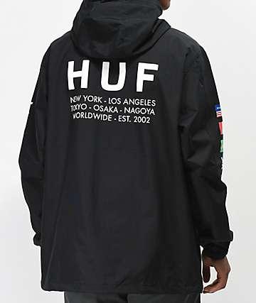 HUF Regional Tour chaqueta anorak negra