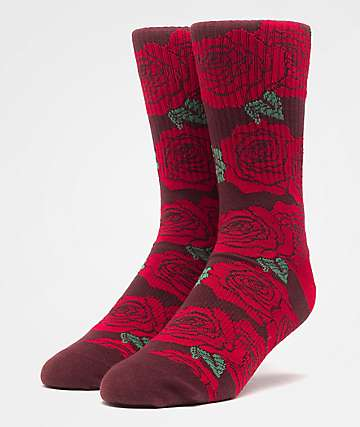HUF Rosette Red Crew Socks