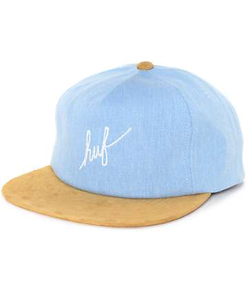HUF Script Denim Blue Snapback Hat