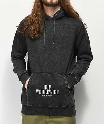 HUF Serif Stack Mineral Washed Black Hoodie