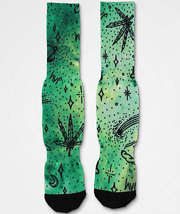 HUF Space Burnout Digital Green Crew Socks