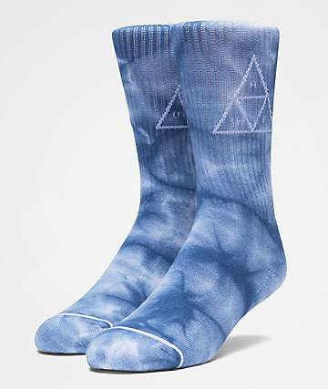 HUF Spot Dye Triple Triangle Indigo Crew Socks