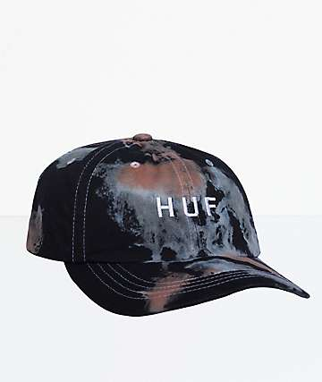d8ead586f93 HUF Spot Dyed Black Bleach Wash Dad Hat