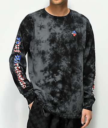 HUF Star Spangled Bummer Black Tie Dye Long Sleeve T-Shirt