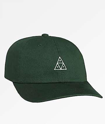 HUF Stone Wash Triple Triangle Green Six Panel Hat