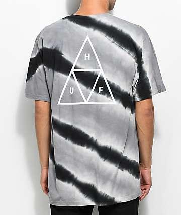 HUF Tiger camiseta blanca y negra con efecto tie dye