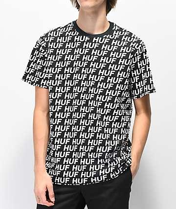 HUF Transit Logo All Over Print Black T-Shirt