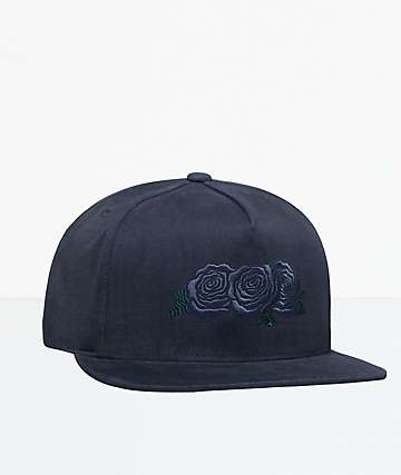 HUF Triple Rose Black Snapback Hat