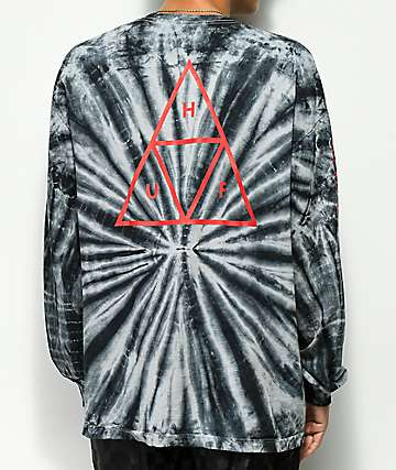 HUF Triple Triangle Black Tie Dye Long Sleeve Shirt
