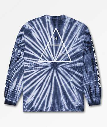 HUF Triple Triangle Blue Tie Dye Long Sleeve T-Shirt
