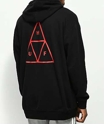 HUF Triple Triangle Over sudadera con capucha negra
