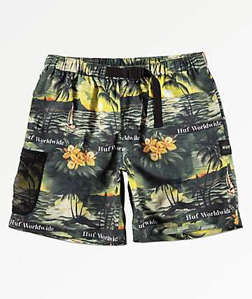 HUF Venice Easy Black & Tropical Print Board Shorts