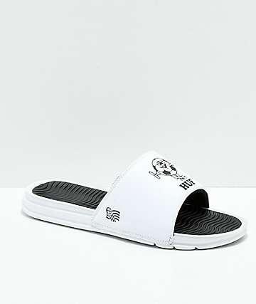 HUF WC Foul Play sandalias blancas y negras