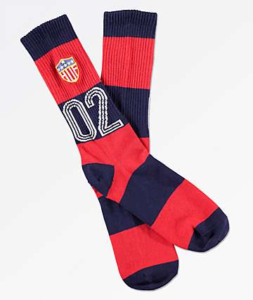 HUF WC Play Maker Red & Navy Crew Socks