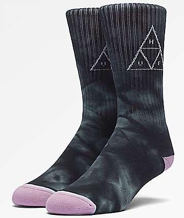 HUF Washed Triple Triangle Jade calcetines con efecto tie dye en azul marino