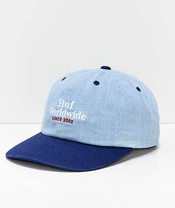 HUF Worldwide Blue Denim Strapback Hat
