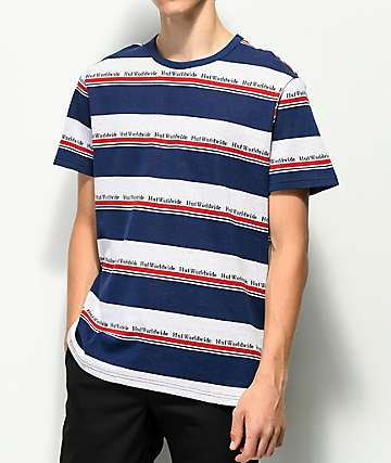 HUF Worldwide Blue Stripe Woven Knit Shirt