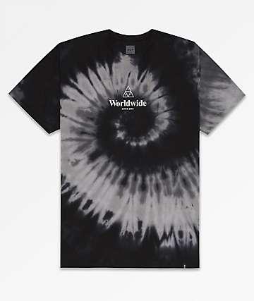 HUF Worldwide Triple Triangle Black Tie Dye T-Shirt