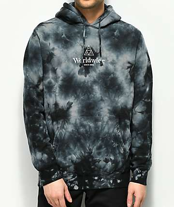 HUF Worldwide Triple Triangle Crystal Wash Black Hoodie